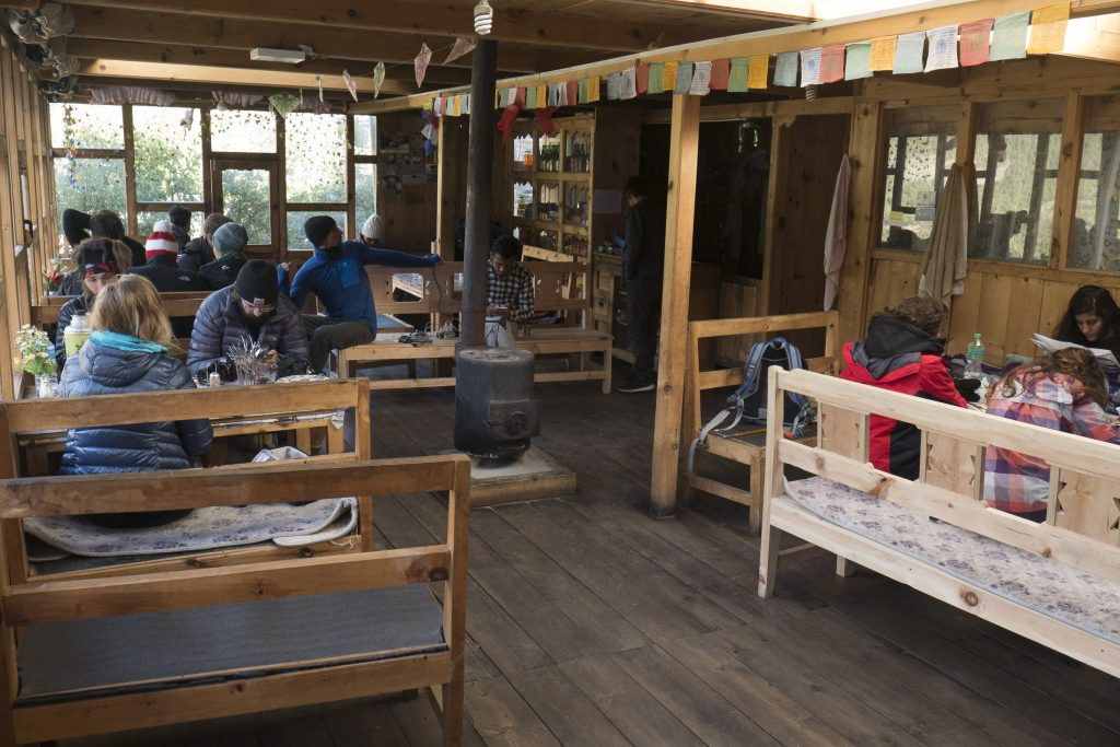 people in a tea house in nepal