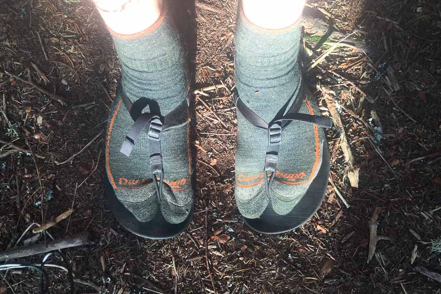 bedrock sandals worn with socks