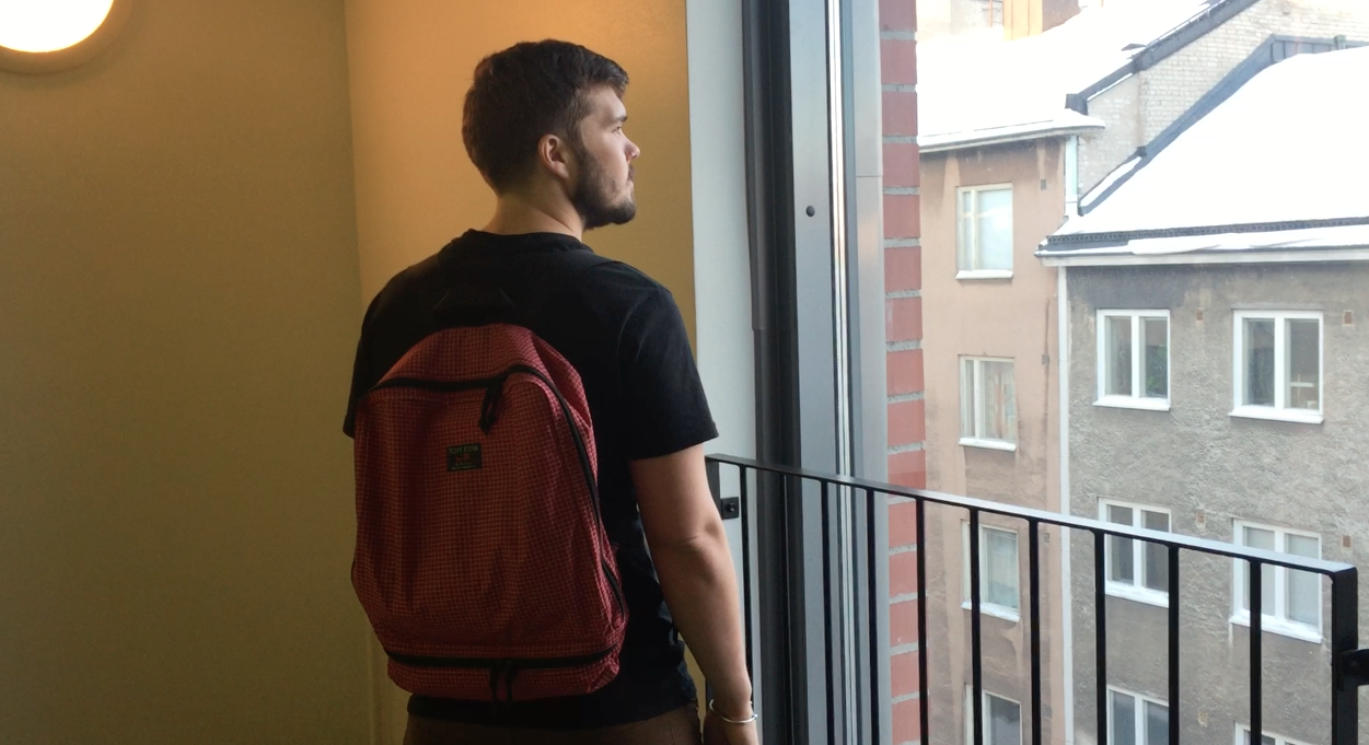wearing the tom bihn packing cube backpack
