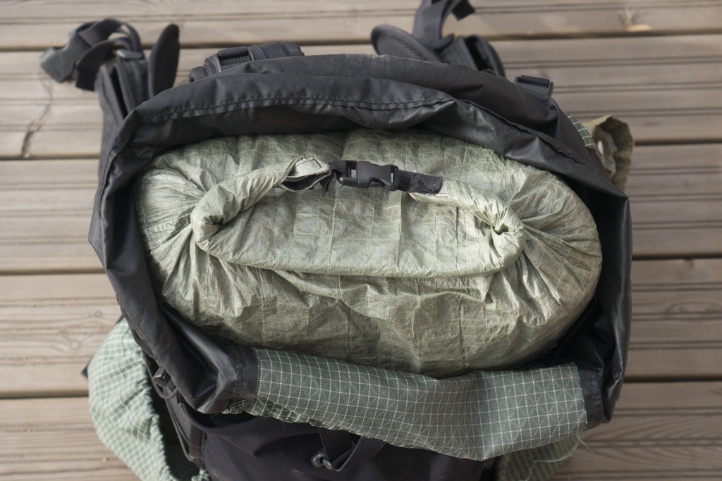 Zpacks food bag inside backpack