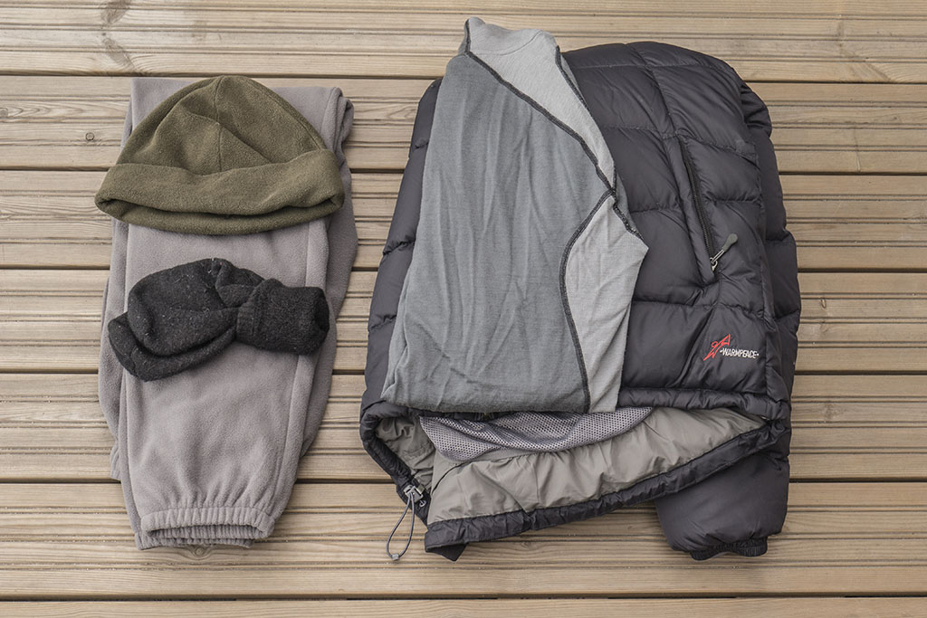 packed clothing on a winter hike