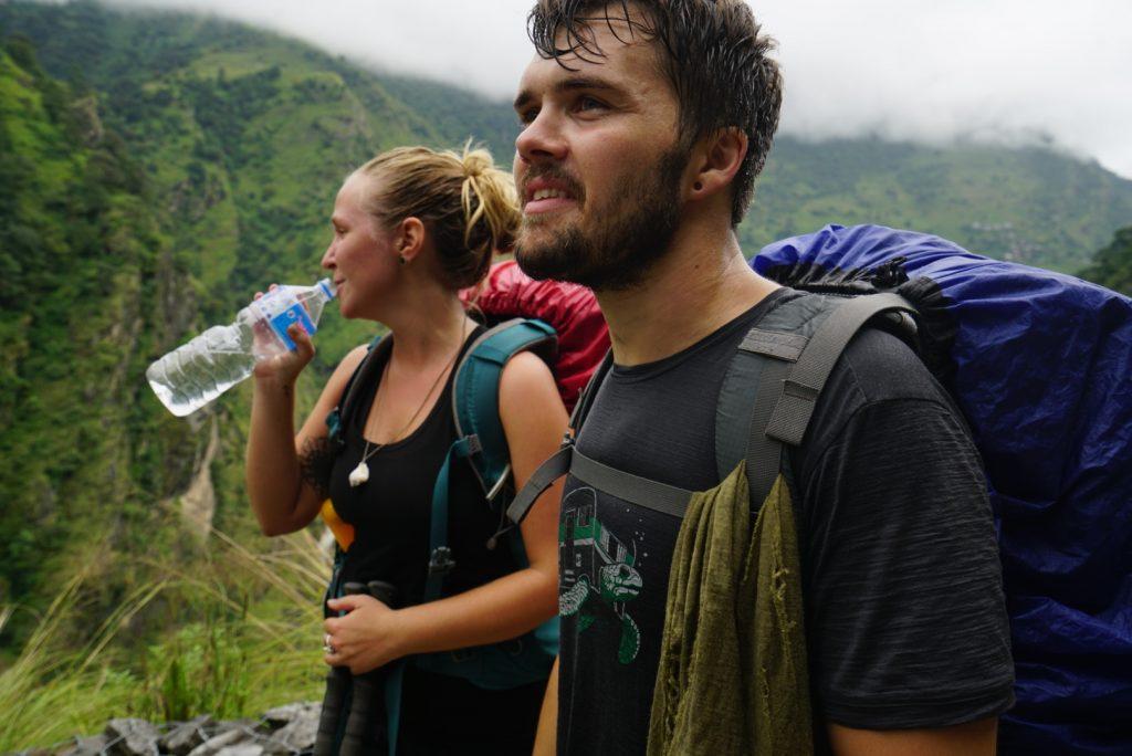 sweaty hikers on the annapurna circuit