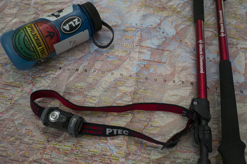 map and other equipment for the Annapurna circuit