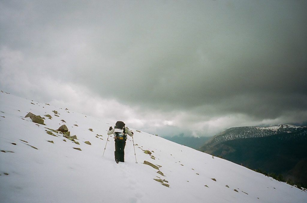 snow on the continental divide trail