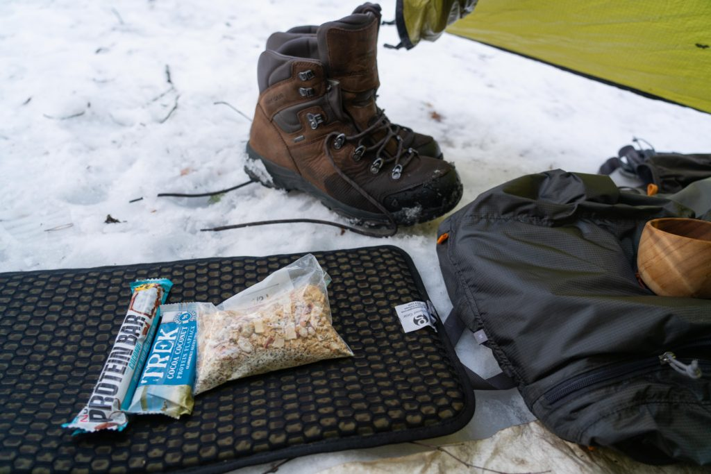 food items resting on a sit pad