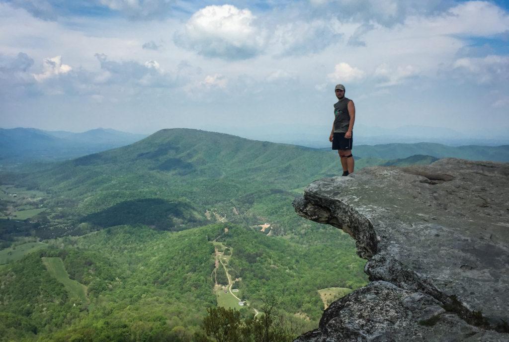 sweaty hiker at macafee knob on the appalachian trail