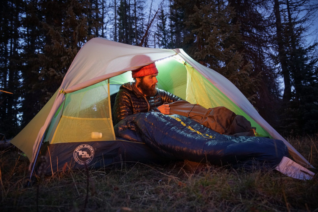 hiker using the big agnes orno sleeping bag