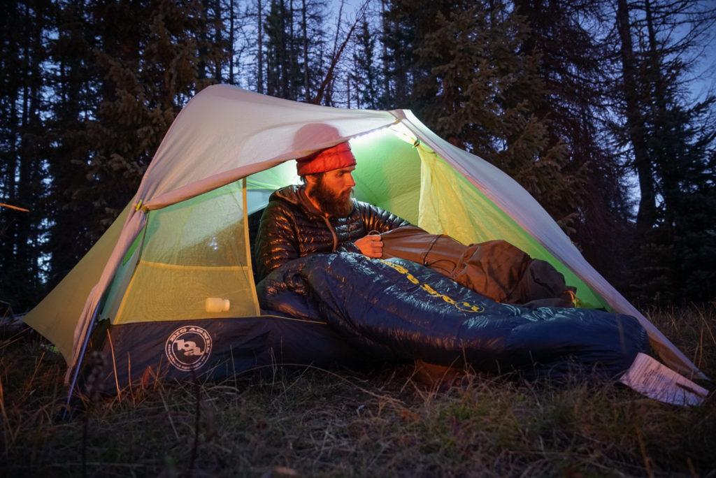 hiker using the big agnes orno sleeping bag