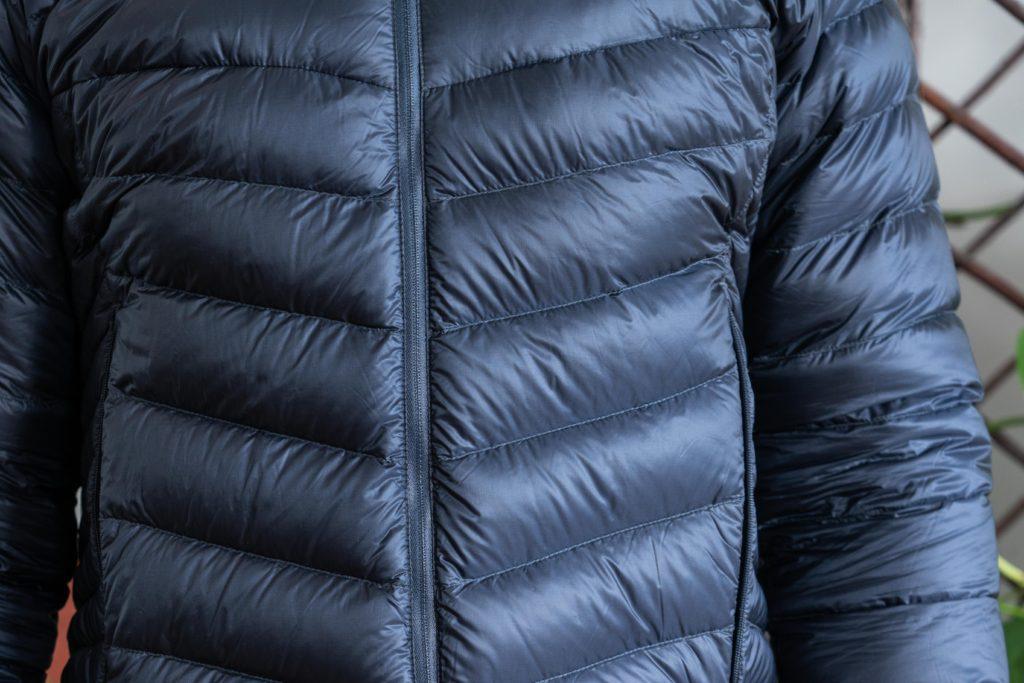 horizontal baffles on a down a jacket